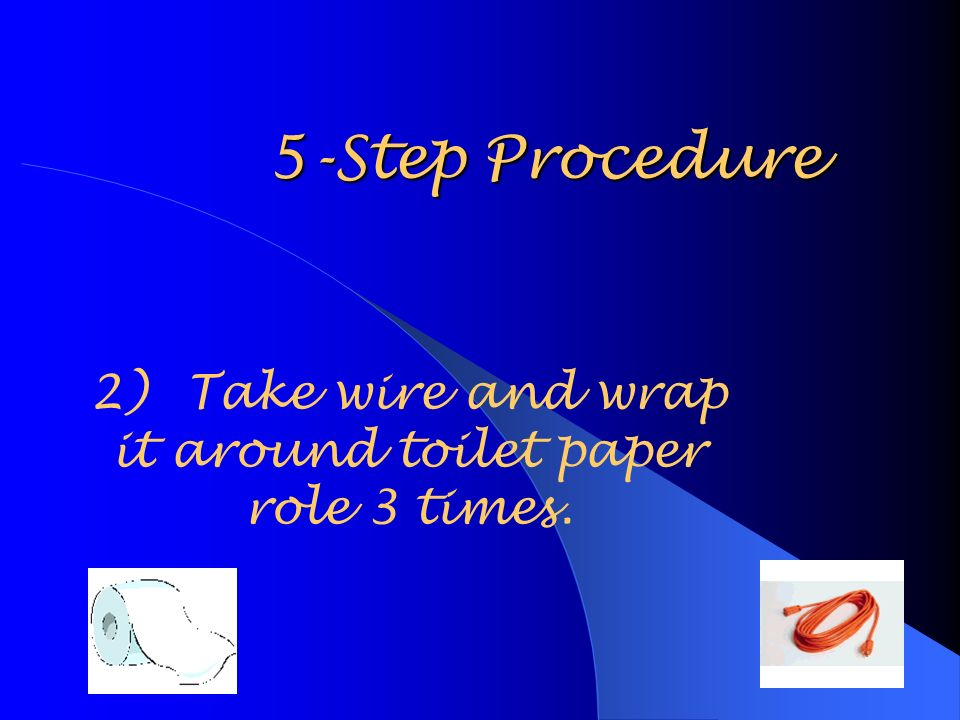 5-Step Procedure 2)Take wire and wrap it around toilet paper role 3 times.