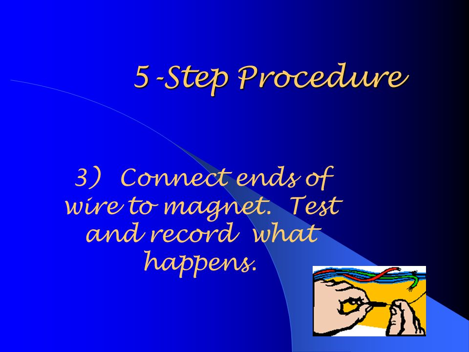 5-Step Procedure 3)Connect ends of wire to magnet. Test and record what happens.