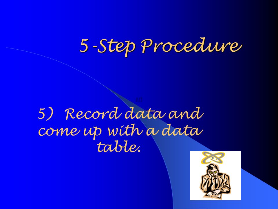 5-Step Procedure 5)Record data and come up with a data table. art