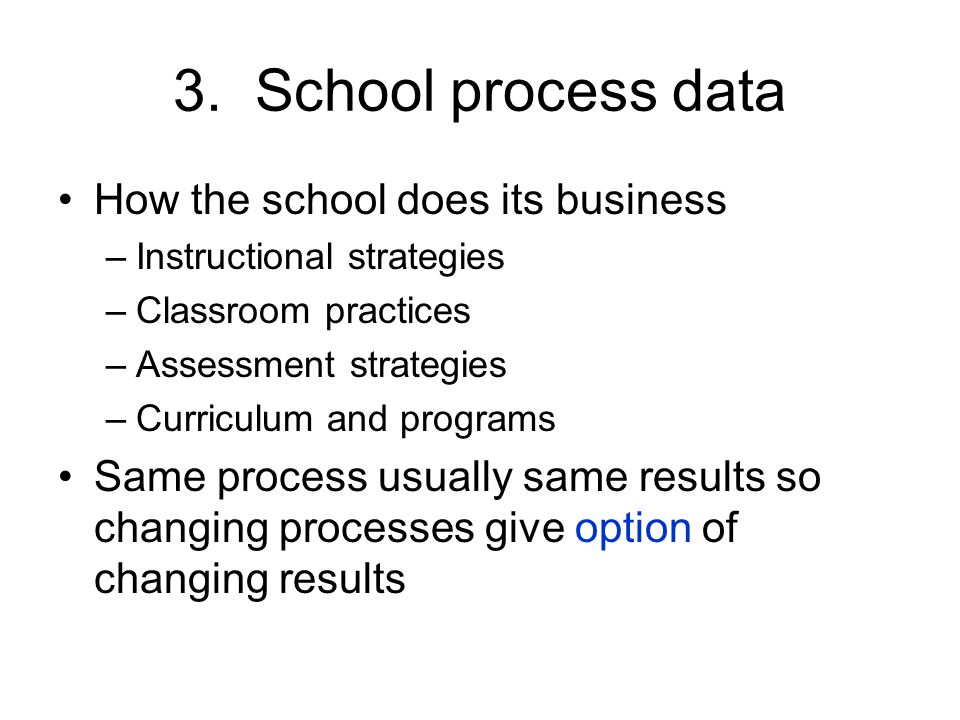 3. School process data How the school does its business –Instructional strategies –Classroom practices –Assessment strategies –Curriculum and programs