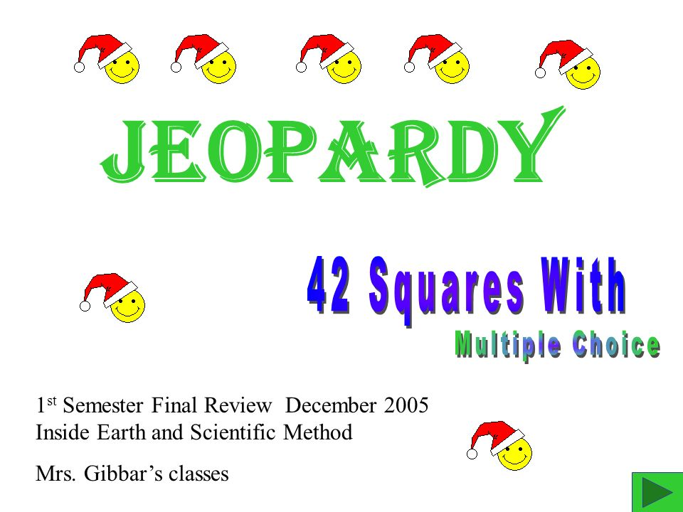 Jeopardy 1 st Semester Final Review December 2005 Inside Earth and Scientific Method Mrs.