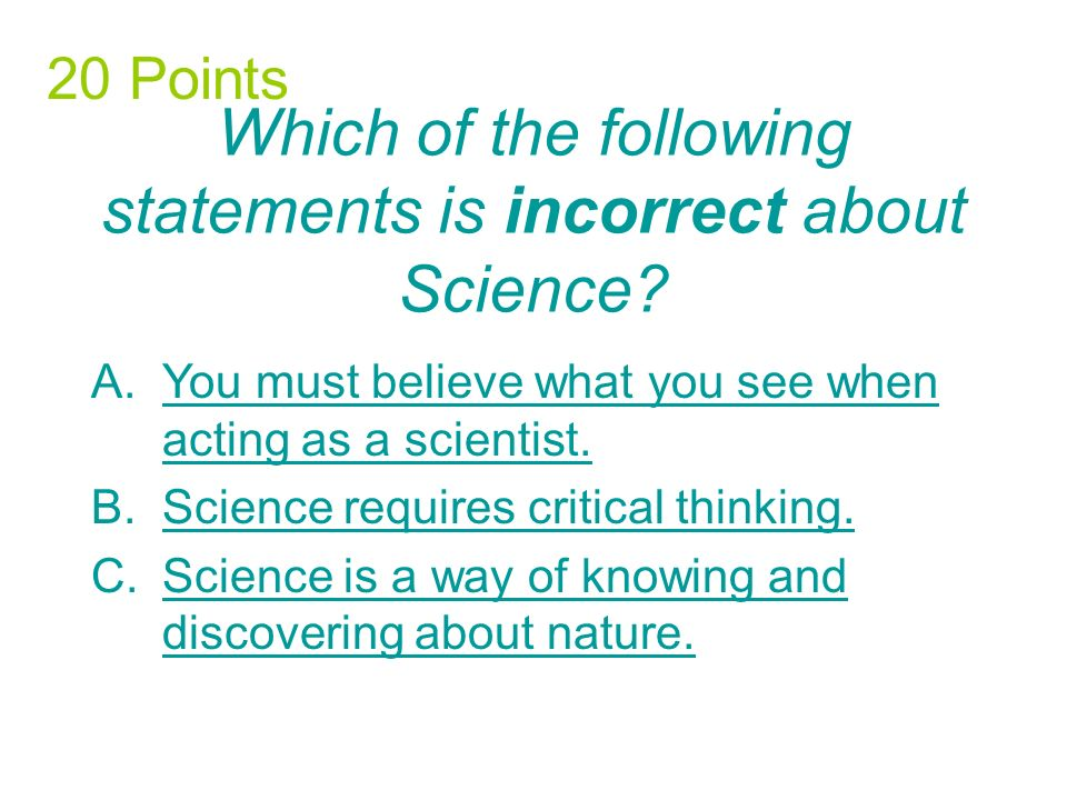 The scientific method does not involve which of the following.