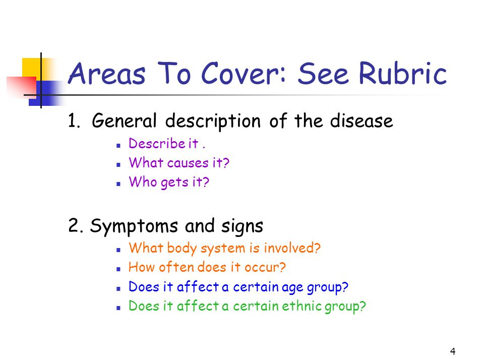 4 Areas To Cover: See Rubric 1. General description of the disease Describe it. What causes it? Who gets it? 2. Symptoms and signs What body system is
