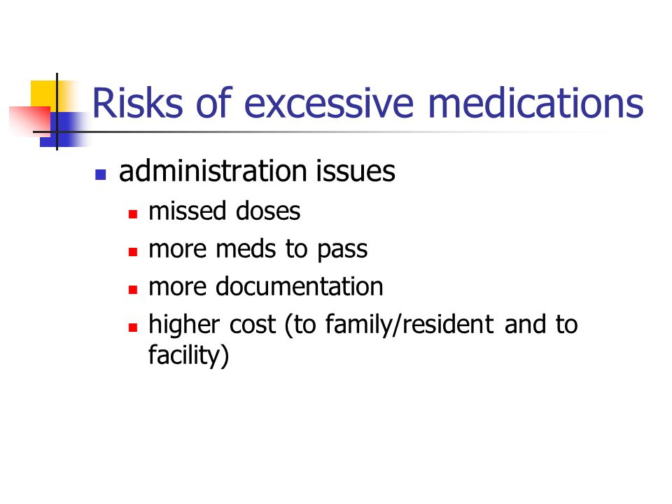 Risks of excessive medications administration issues missed doses more meds to pass more documentation higher cost (to family/resident and to facility)