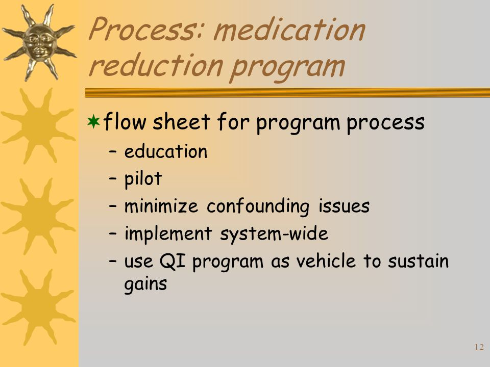12 Process: medication reduction program flow sheet for program process –education –pilot –minimize confounding issues –implement system-wide –use QI program as vehicle to sustain gains