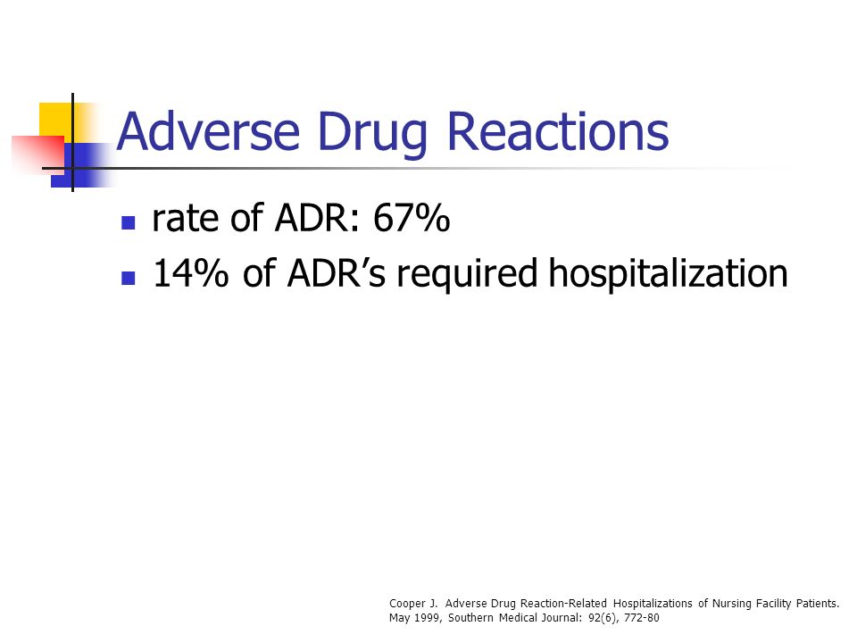 Adverse Drug Reactions rate of ADR: 67% 14% of ADRs required hospitalization Cooper J. Adverse Drug Reaction-Related Hospitalizations of Nursing Facil