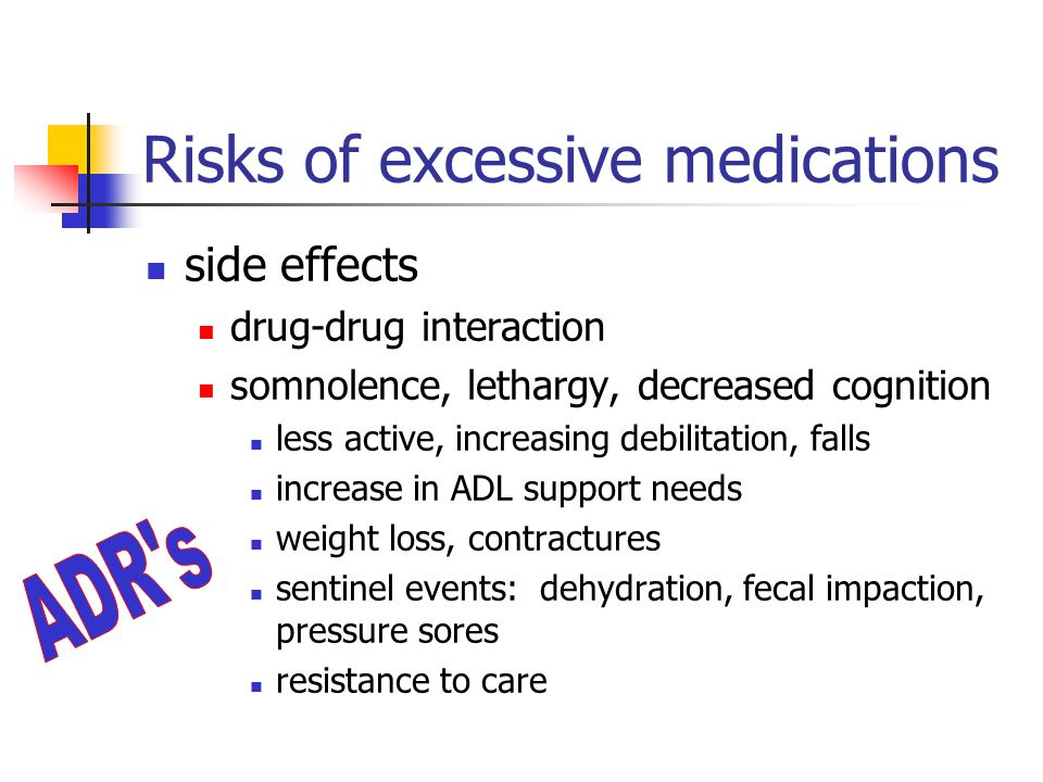 Risks of excessive medications side effects drug-drug interaction somnolence, lethargy, decreased cognition less active, increasing debilitation, falls increase in ADL support needs weight loss, contractures sentinel events: dehydration, fecal impaction, pressure sores resistance to care