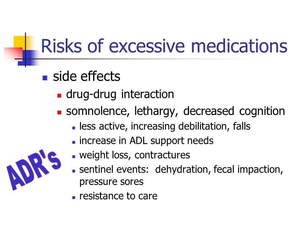 Risks of excessive medications side effects drug-drug interaction somnolence, lethargy, decreased cognition less active, increasing debilitation, fall