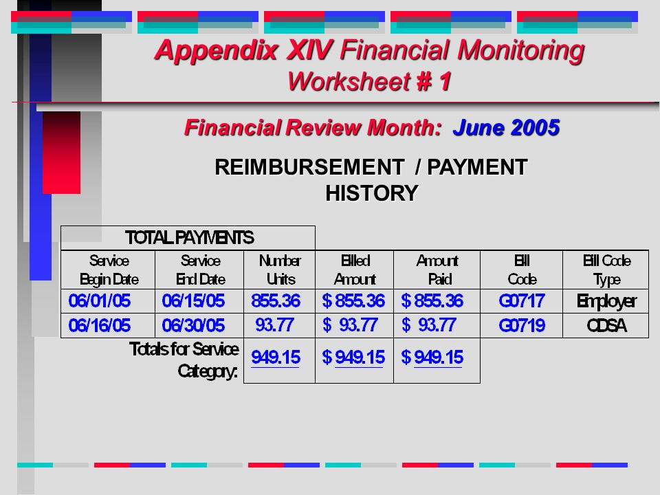 Appendix XIV Financial Monitoring Worksheet # 1 Financial Review Month: June 2005 REIMBURSEMENT / PAYMENT HISTORY