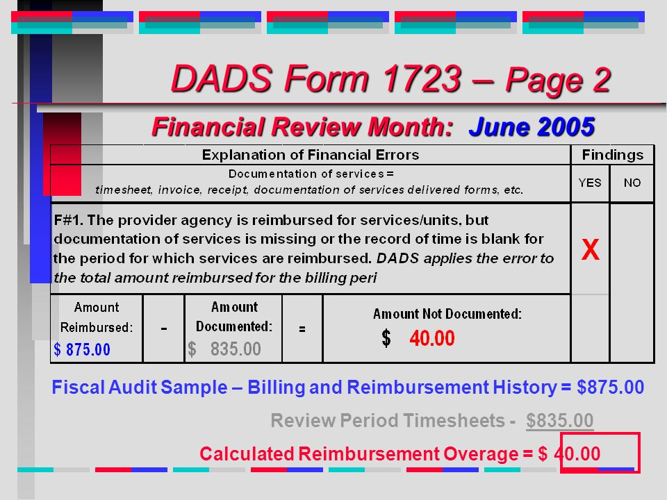 DADS Form 1723 – Page 2 Financial Review Month: June 2005 DADS Form 1723 – Page 2 Financial Review Month: June 2005 Fiscal Audit Sample – Billing and