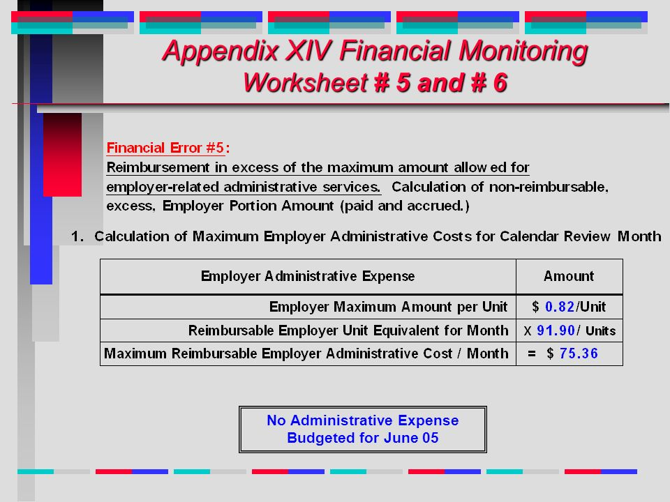 Appendix XIV Financial Monitoring Worksheet # 5 and # 6 No Administrative Expense Budgeted for June 05