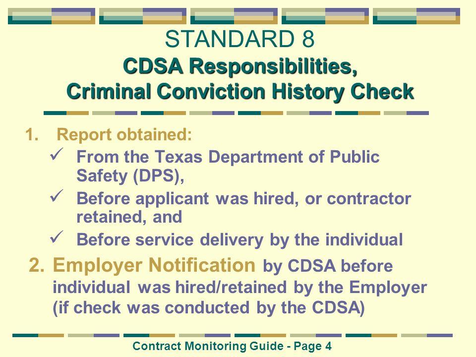 CDSA Responsibilities, Criminal Conviction History Check STANDARD 8 CDSA Responsibilities, Criminal Conviction History Check Contract Monitoring Guide