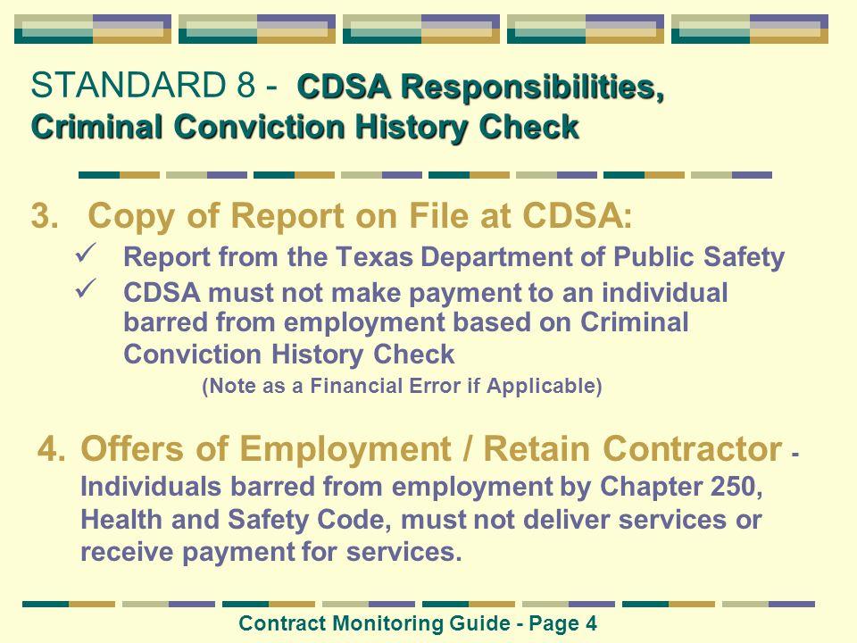 CDSA Responsibilities, Criminal Conviction History Check STANDARD 8 - CDSA Responsibilities, Criminal Conviction History Check Contract Monitoring Gui