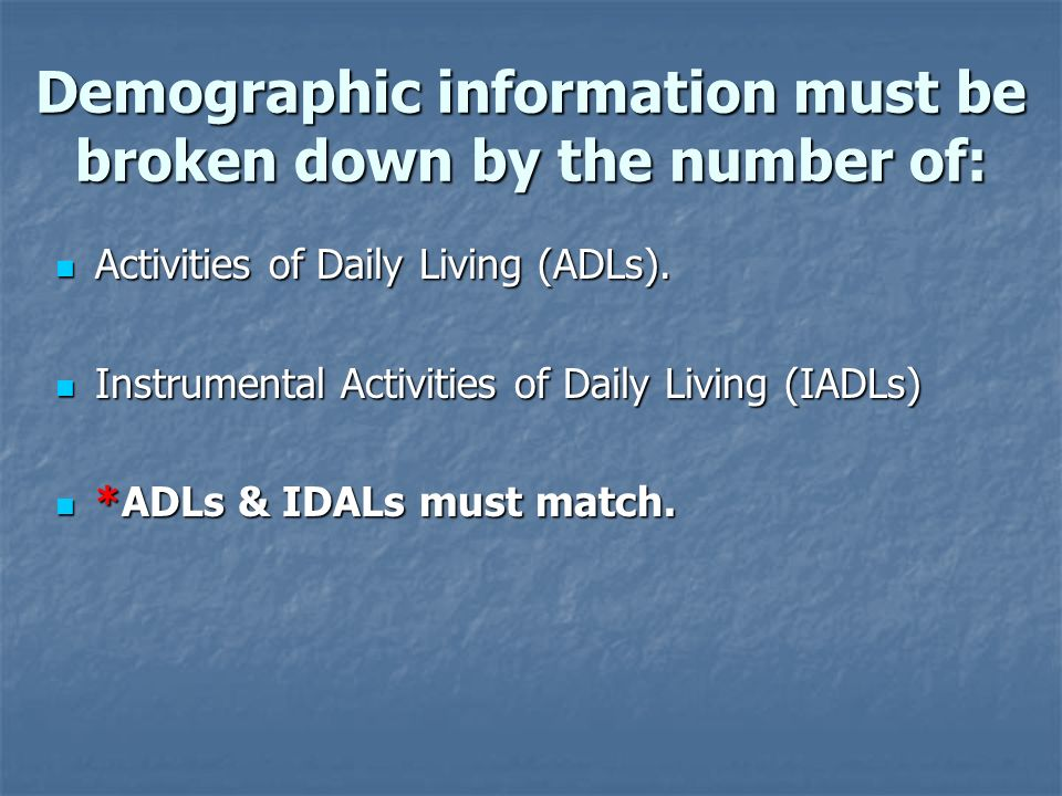 Demographic information must be broken down by the number of: Activities of Daily Living (ADLs).