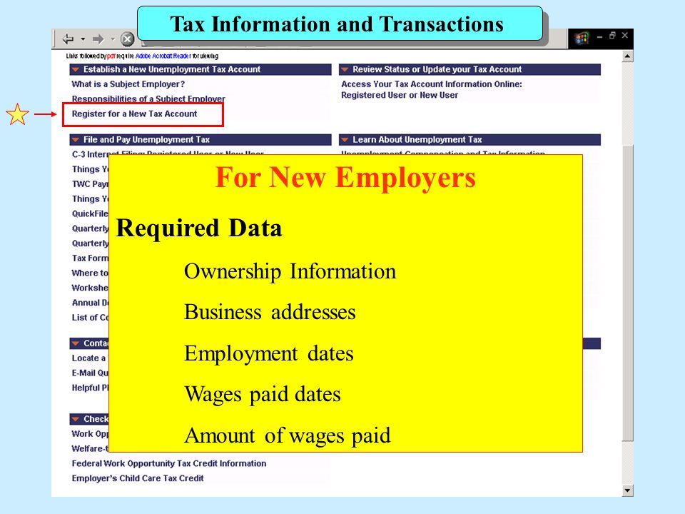 Tax Information and Transactions For New Employers Required Data Ownership Information Business addresses Employment dates Wages paid dates Amount of wages paid