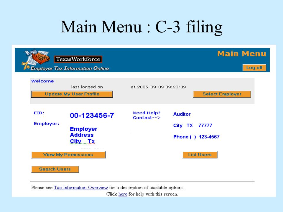 Main Menu : C-3 filing