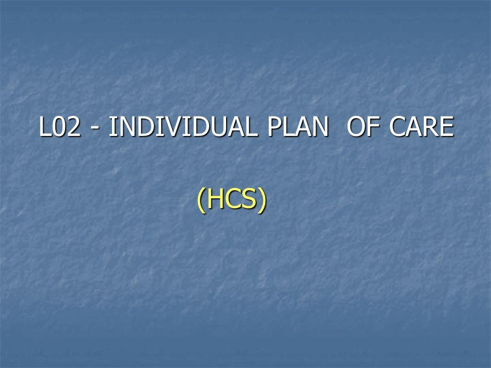 L02 - INDIVIDUAL PLAN OF CARE L02 - INDIVIDUAL PLAN OF CARE(HCS)