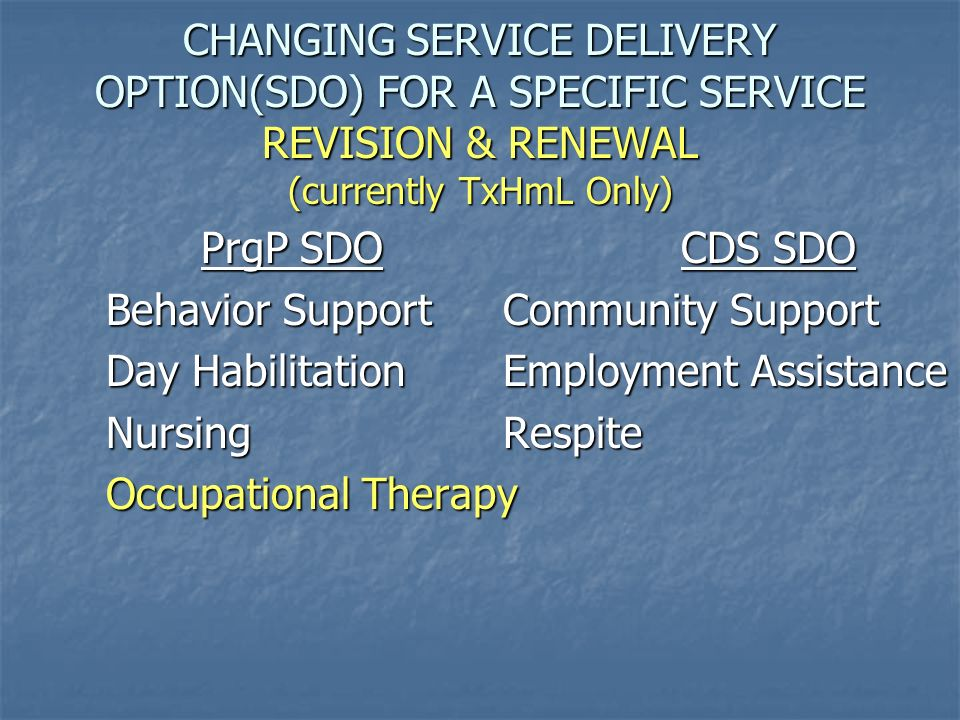 CHANGING SERVICE DELIVERY OPTION(SDO) FOR A SPECIFIC SERVICE REVISION & RENEWAL (currently TxHmL Only) PrgP SDOCDS SDO Behavior Support Community Supp