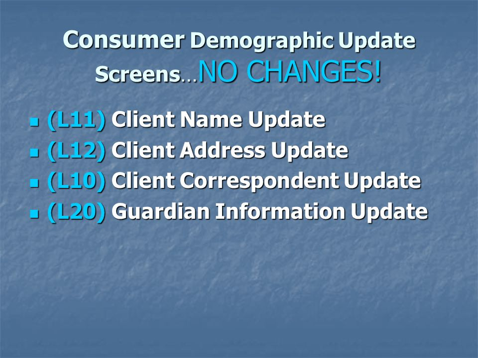 Consumer Demographic Update Screens… NO CHANGES! (L11) Client Name Update (L11) Client Name Update (L12) Client Address Update (L12) Client Address Up