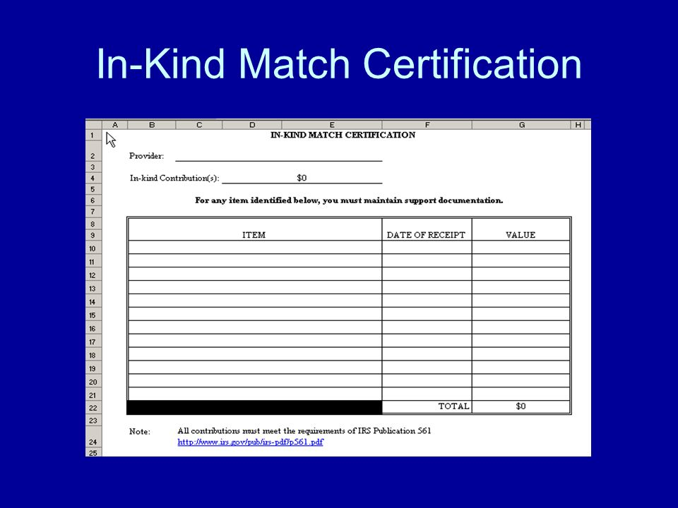 In-Kind Match Certification