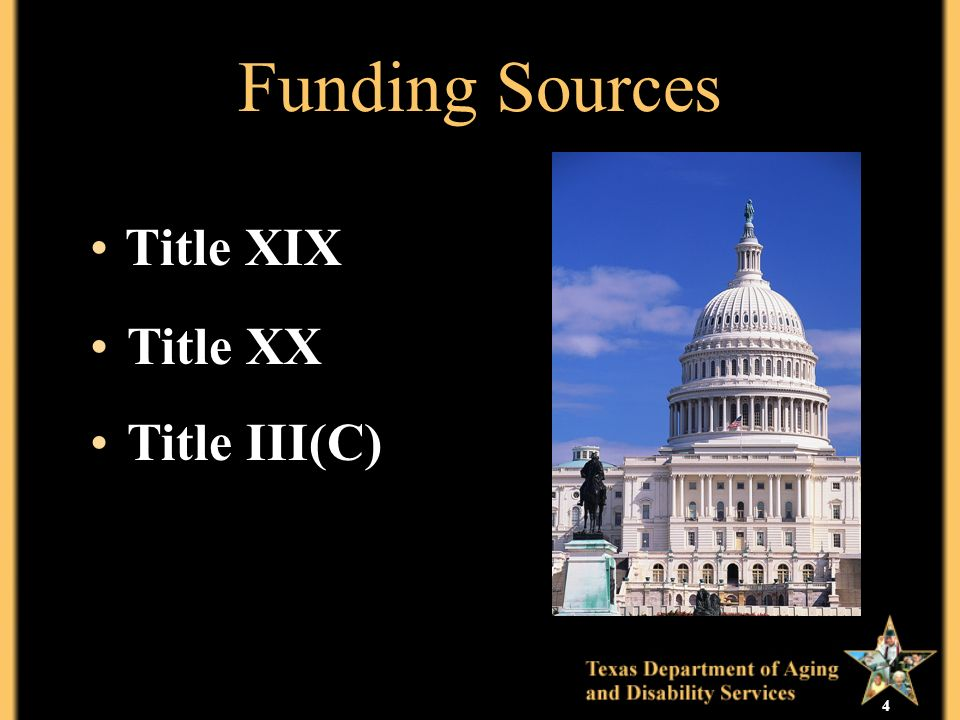 4 Funding Sources Title XIX Title XX Title III(C)