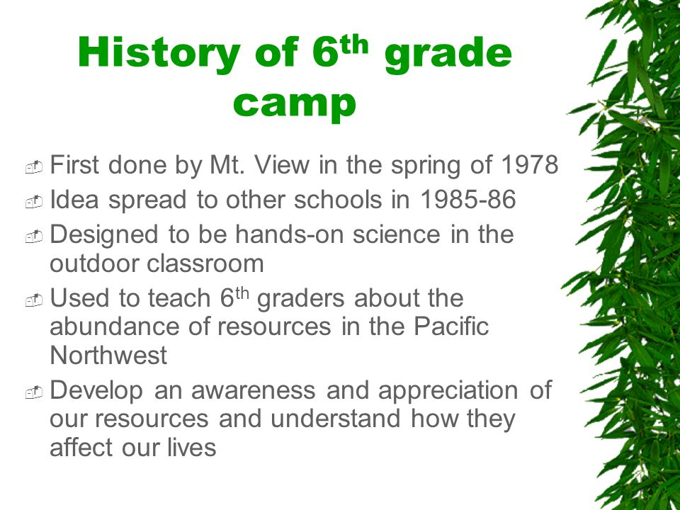 History of 6 th grade camp First done by Mt.