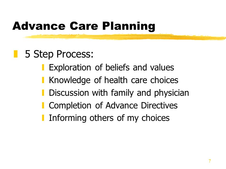 7 Advance Care Planning z5 Step Process: yExploration of beliefs and values yKnowledge of health care choices yDiscussion with family and physician yC