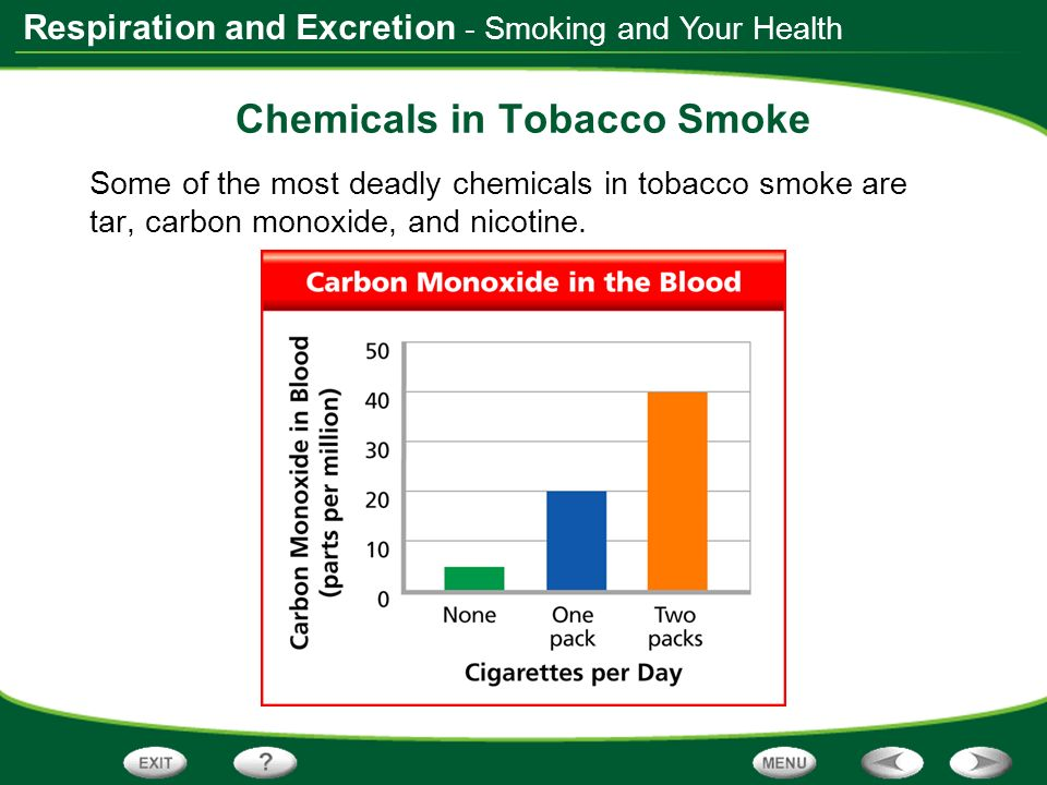 Respiration and Excretion - Smoking and Your Health Chemicals in Tobacco Smoke Some of the most deadly chemicals in tobacco smoke are tar, carbon mono