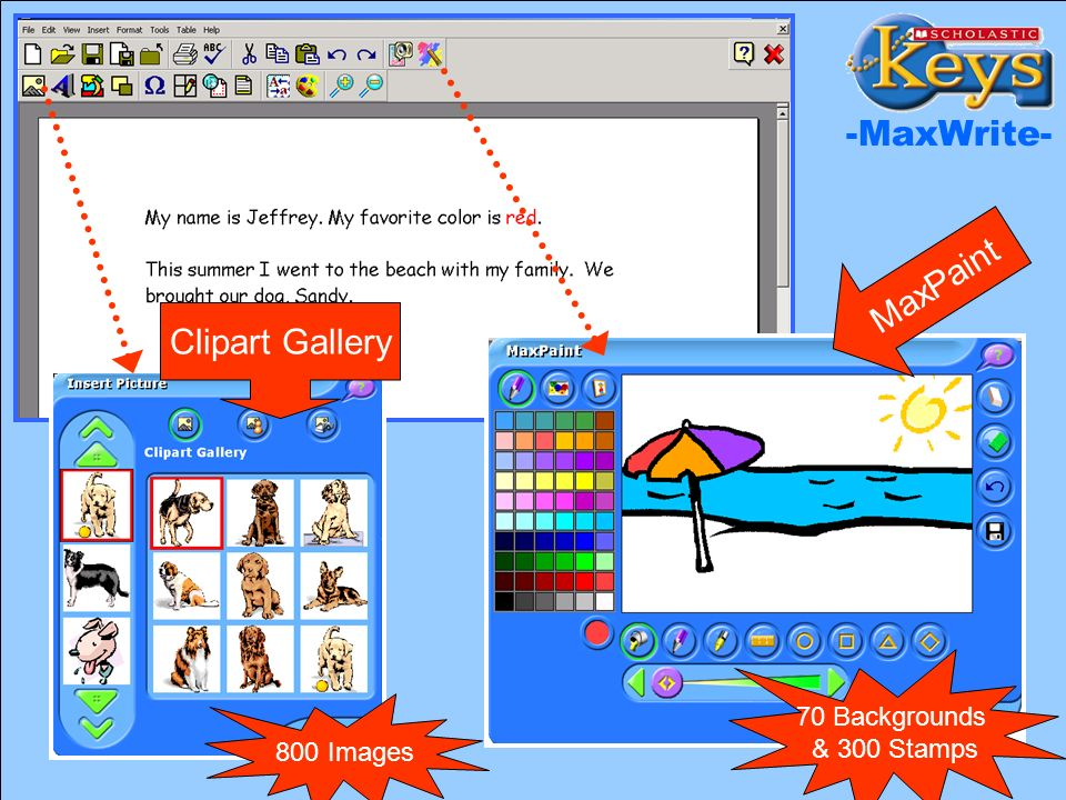 MaxPaint and Clipart Clipart Gallery MaxPaint -MaxWrite- 800 Images 70 Backgrounds & 300 Stamps