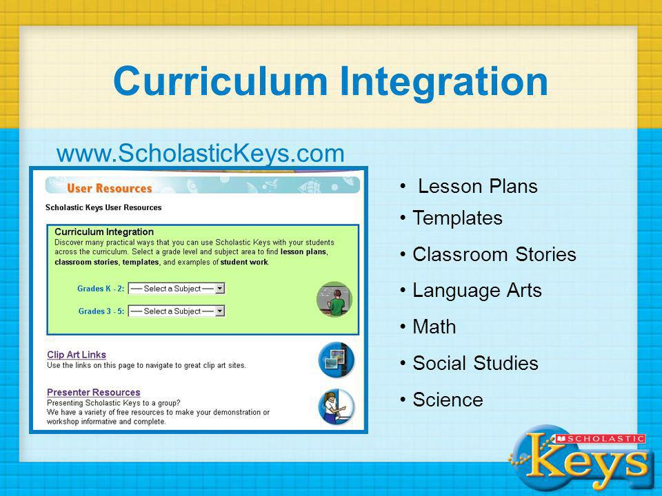 Curriculum Integration Lesson Plans Templates Classroom Stories Language Arts Math Social Studies Science www.ScholasticKeys.com