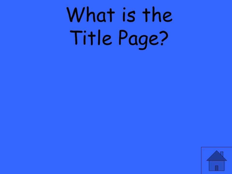 What is the Title Page?