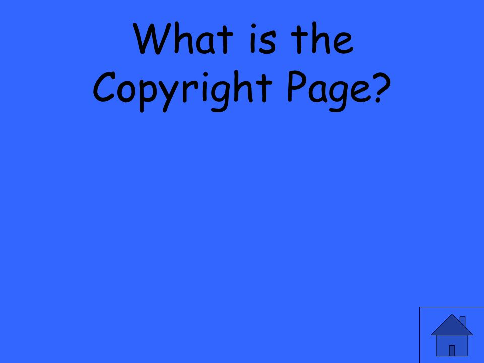 What is the Copyright Page?