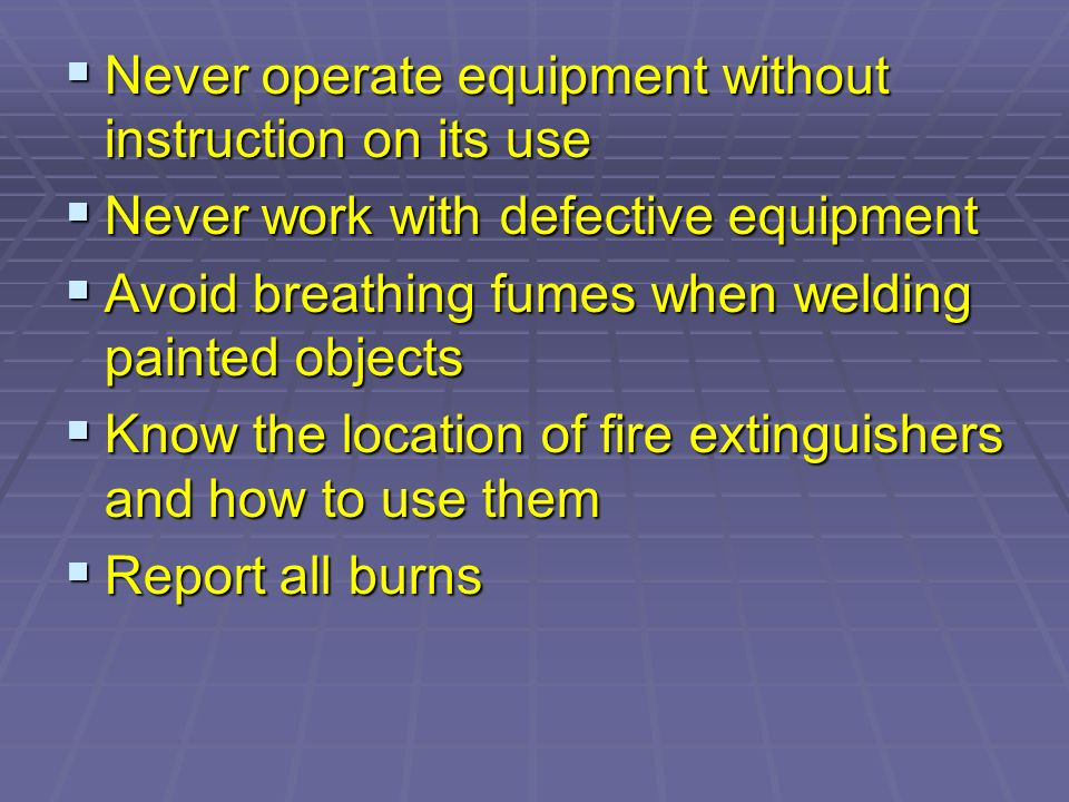 Some factors which contribute to accidents: Poor lighting Poor lighting Improper electric outlets Improper electric outlets Poor maintenance of equipment Poor maintenance of equipment Damaged equipment Damaged equipment Horseplay Horseplay Slippery, dirty floors Slippery, dirty floors Inadequate instruction Inadequate instruction