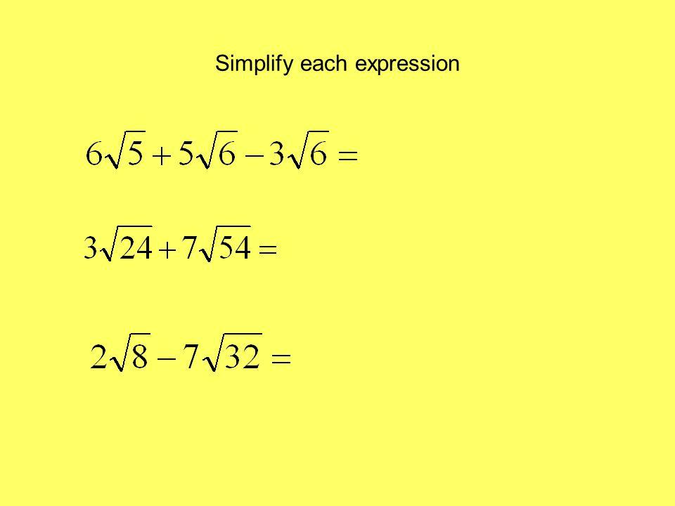 Simplify each expression