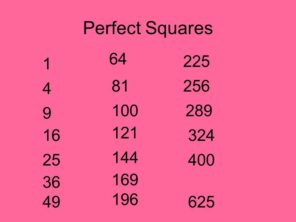 Perfect Squares 1 4 9 16 25 36 49 64 81 100 121 144 169 196 225 256 324 400 625 289