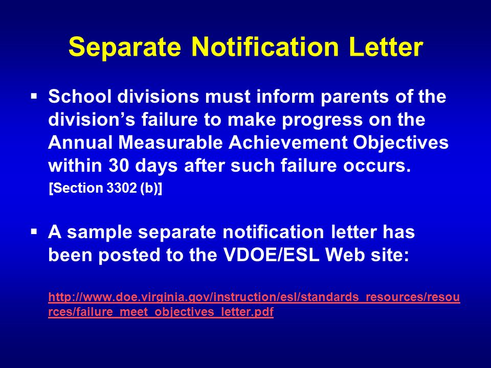 Separate Notification Letter School divisions must inform parents of the divisions failure to make progress on the Annual Measurable Achievement Objec