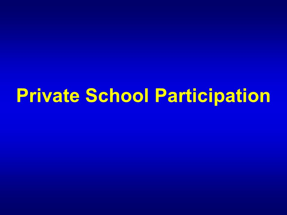 Private School Participation