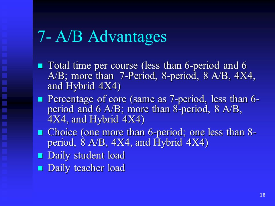 18 7- A/B Advantages n Total time per course (less than 6-period and 6 A/B; more than 7-Period, 8-period, 8 A/B, 4X4, and Hybrid 4X4) n Percentage of core (same as 7-period, less than 6- period and 6 A/B; more than 8-period, 8 A/B, 4X4, and Hybrid 4X4) n Choice (one more than 6-period; one less than 8- period, 8 A/B, 4X4, and Hybrid 4X4) n Daily student load n Daily teacher load