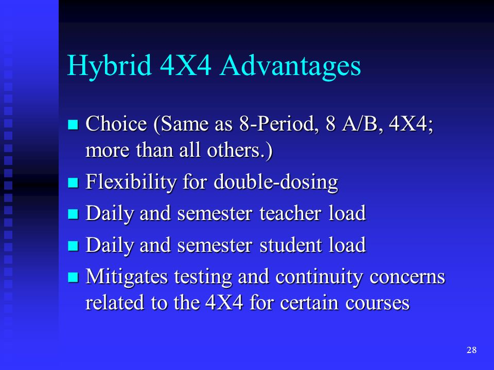 28 Hybrid 4X4 Advantages n Choice (Same as 8-Period, 8 A/B, 4X4; more than all others.) n Flexibility for double-dosing n Daily and semester teacher load n Daily and semester student load n Mitigates testing and continuity concerns related to the 4X4 for certain courses