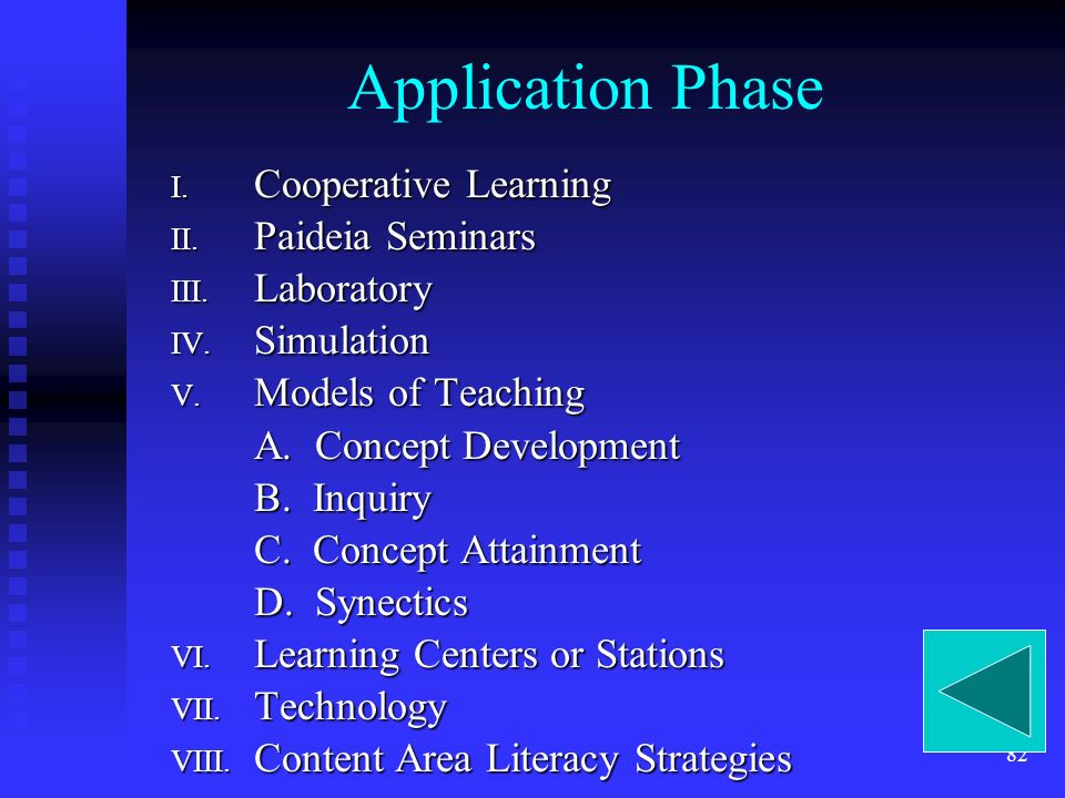 82 Application Phase I. Cooperative Learning II. Paideia Seminars III.