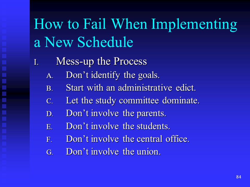 84 How to Fail When Implementing a New Schedule I.