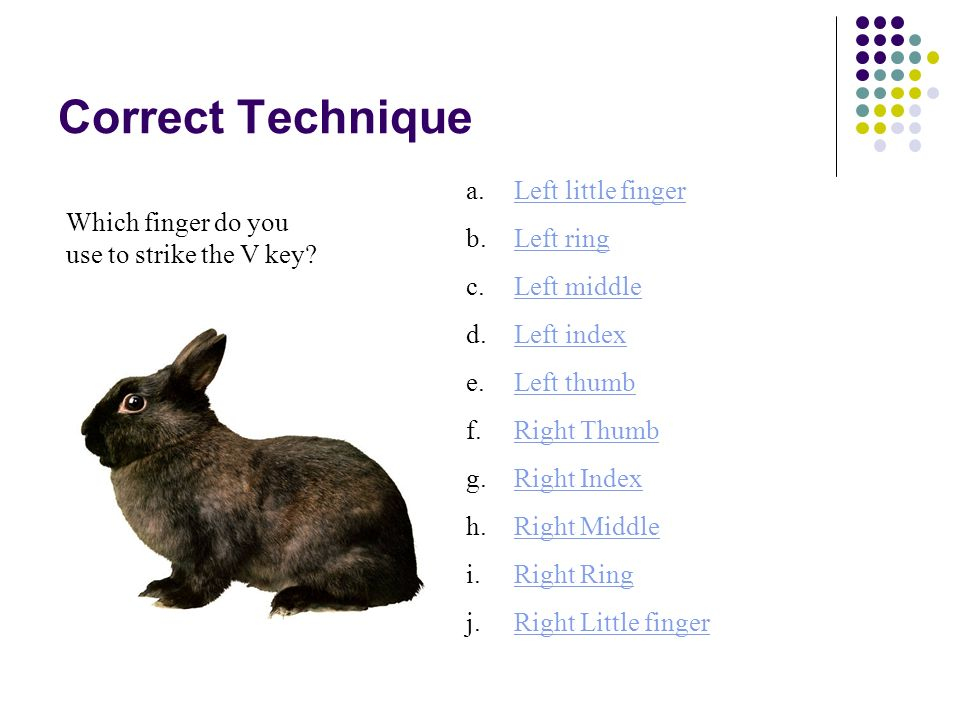 Correct Technique Which finger do you use to strike the P key? a.Left little fingerLeft little finger b.Left ringLeft ring c.Left middleLeft middle d.