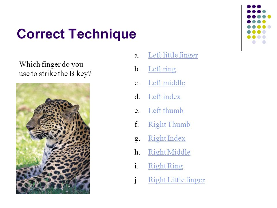 Correct Technique Which finger do you use to strike the P key? a.right little fingerright little finger b.Left ringLeft ring c.Left middleLeft middle