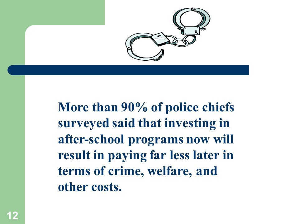 12 More than 90% of police chiefs surveyed said that investing in after-school programs now will result in paying far less later in terms of crime, welfare, and other costs.