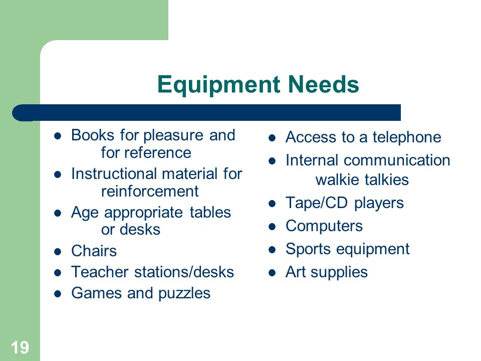19 Equipment Needs Books for pleasure and for reference Instructional material for reinforcement Age appropriate tables or desks Chairs Teacher stations/desks Games and puzzles Access to a telephone Internal communication walkie talkies Tape/CD players Computers Sports equipment Art supplies