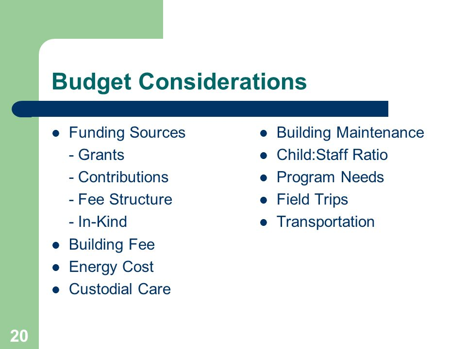 20 Budget Considerations Funding Sources - Grants - Contributions - Fee Structure - In-Kind Building Fee Energy Cost Custodial Care Building Maintenance Child:Staff Ratio Program Needs Field Trips Transportation