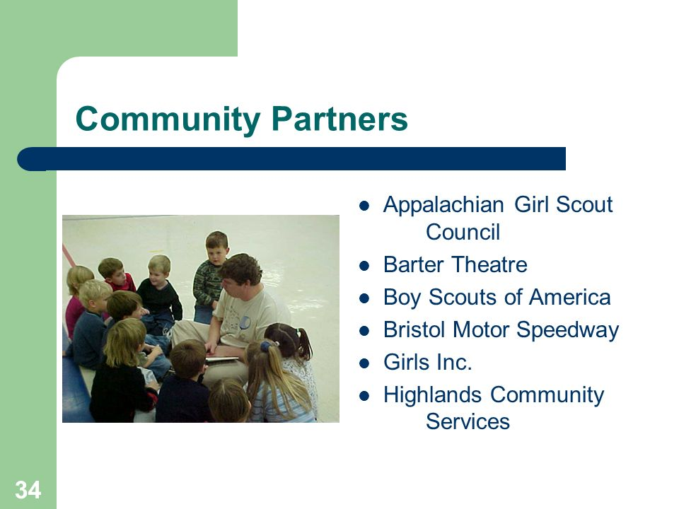 34 Community Partners Appalachian Girl Scout Council Barter Theatre Boy Scouts of America Bristol Motor Speedway Girls Inc.