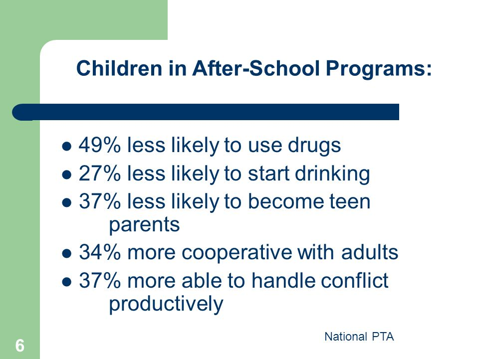 6 49% less likely to use drugs 27% less likely to start drinking 37% less likely to become teen parents 34% more cooperative with adults 37% more able to handle conflict productively National PTA Children in After-School Programs: