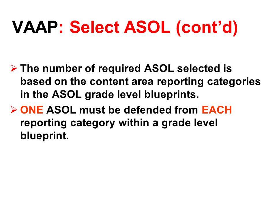 The number of required ASOL selected is based on the content area reporting categories in the ASOL grade level blueprints.