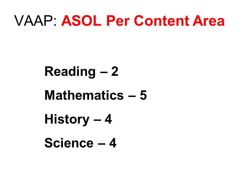 VAAP: ASOL Per Content Area Reading – 2 Mathematics – 5 History – 4 Science – 4